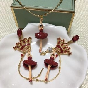 les nereides ballerina necklace and earrings set